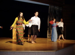 A performance in the Middle East and Asia day in school. This is a Bhutanese dance. In the picture is Yeshey, my roommate from Bhutan, Andres from Costa Rica, myself and Ruakiri, from New Zealand.