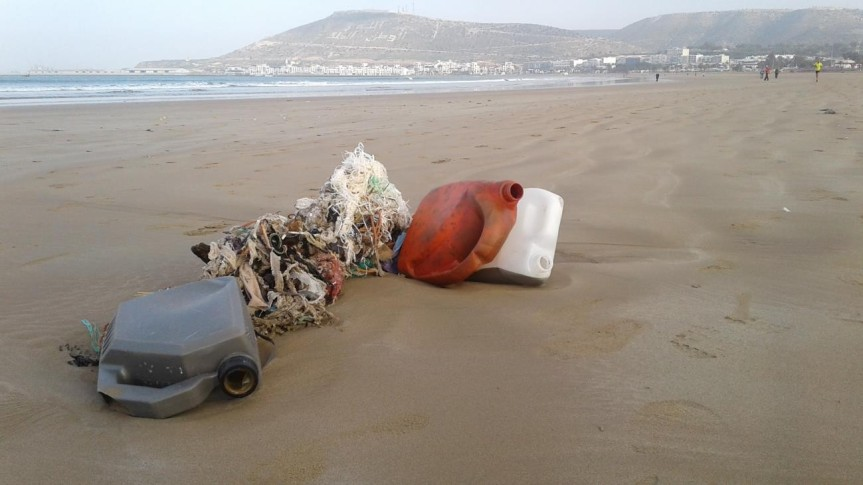 Agadir's beach suffers from pollution by Khadija Amahal,Morocco