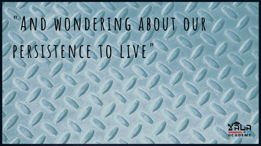 """And wondering about our persistence to live"""